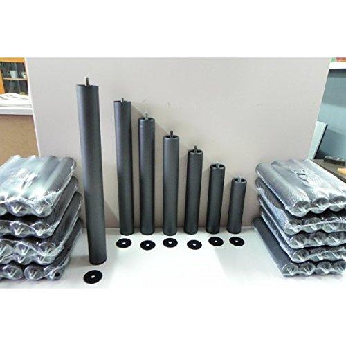 Pack 6 PATAS cilíndricas METALICAS 50cm altura especial, ANTIRUIDO para BASE TAPIZADA o SOMIER. Montaje rápido y fácil