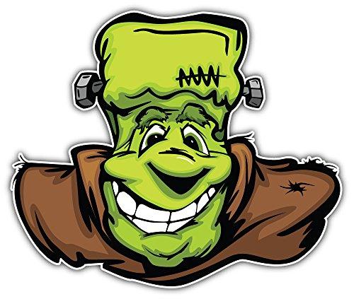 SkyBug Happy Frankenstein Halloween Monster Head Bumper Sticker Vinyl Art Decal for Car Truck Van Window Bike Laptop
