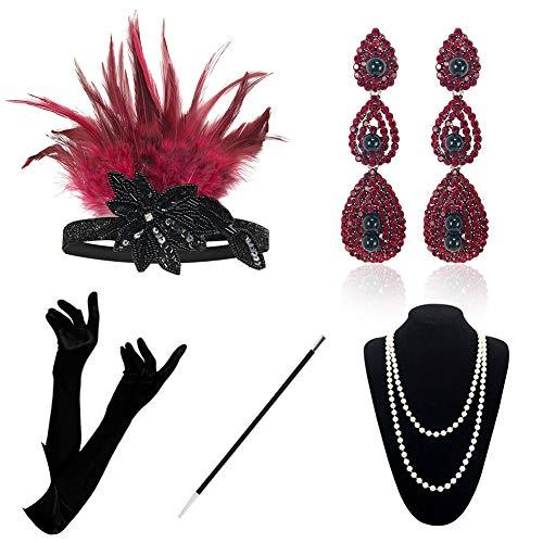 KQueenStar 1920er Jahre Zubehör Set Flapper Kostüm Accessoires für Damen 20s Gatsby Jahre Stirnband Kopfschmuck Ohrringe Perlen Halskette Handschuhe Zigarettenspitze (Red Set A)