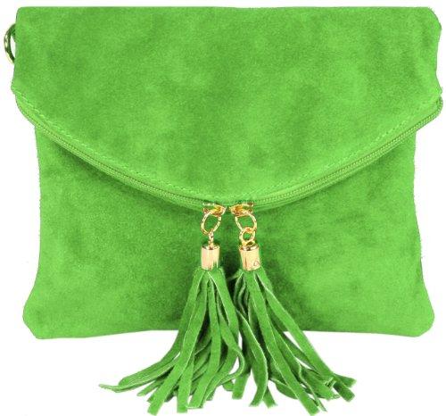 Emmy accessoires Katie WILD Clutch/ Abendtasche Wildleder oder Flecht-Wildleder (22bx18h cm) Grün