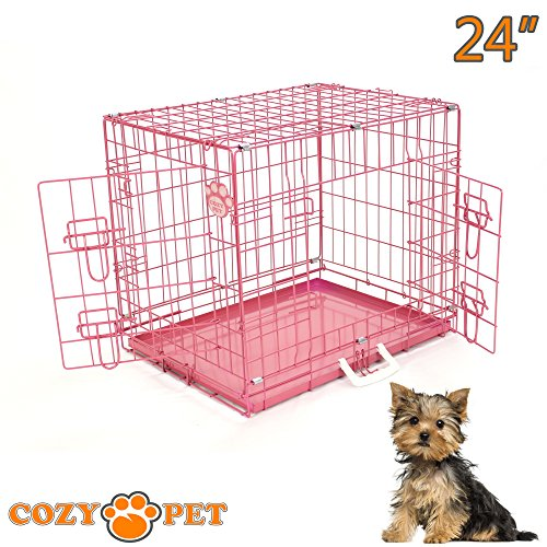 Cozy-Pet-Dog-Cages-in-5-Sizes-24-30-36-42-48-Beige-Black-Blue-Green-Pink-Silver-with-High-Quality-Metal-Trays-Dog-Crate-Puppy-Cage-Cat-Carrier