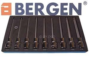 """Bergen - Embout de vissage Torx extra long 1/2"""" longueur 150mm S2 - Ensemble de 9 pièces de T27 à T70 - BER1174"""