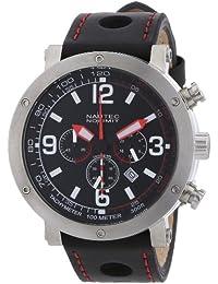 Nautec No Limit Herren-Armbanduhr XL Shamal Chronograph Quarz Leder SM QZ2/LTSTBK-RD