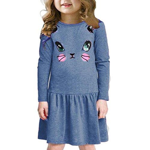 Longra Kinder Mädchen Herbst Kleidung Katze Bedruckte Kleider Kinder Kleidung Prinzessin Kleid Mädchen Casual Langarm T-shirt Kleid(3-7Jahre) (120CM 6Jahre, (Katze Kostüme Mädchen)