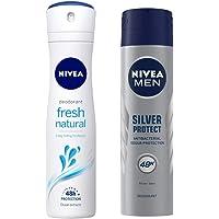 Nivea Fresh Natural Deodorant For Women, 150ml & MEN Deodorant, Silver Protect Antibacterial, 150ml Combo
