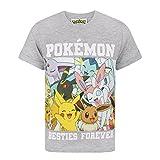 Pokèmon - Camiseta de Manga Modelo Besties Forever para niños (Años (3-4)/Gris Claro)