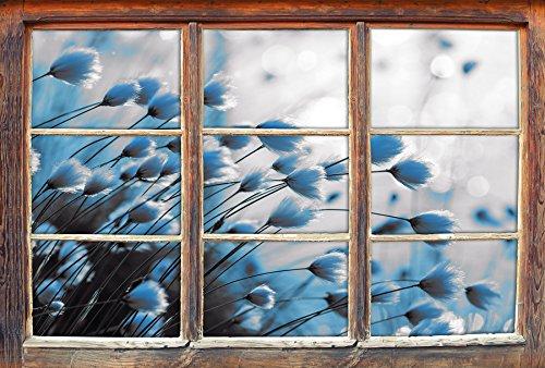 Preisvergleich Produktbild Wollgras am See an Einem Sommerabend B&W Detail Fenster im 3D-Look,  Wand- oder Türaufkleber Format: 62x42cm,  Wandsticker,  Wandtattoo,  Wanddekoration