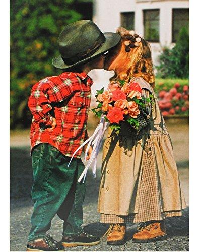 alles-meine.de GmbH Puzzle 1500 Teile - Mädchen & Junge - mit Blumenstrauß / erster Kuß  - Foto - Bauernhof - Trachten / Sommerfest - Kindermotiv - erste Liebe - ()