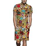 Männer Sommer Kurze Hose 3D Gedruckt Kurzen Ärmel Zipper Strampler Overalls Top Crane 3D Print Jumpsuit Große Größe Herren Kurzarm Shirt Tooling,01,L