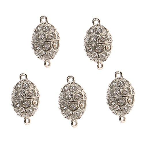 D DOLITY 5 Pcs Magnetische Klammern Haken Magnetische Schmuck Verschlüsse Strass Magnetische Perlen für Ohrringe - Silber