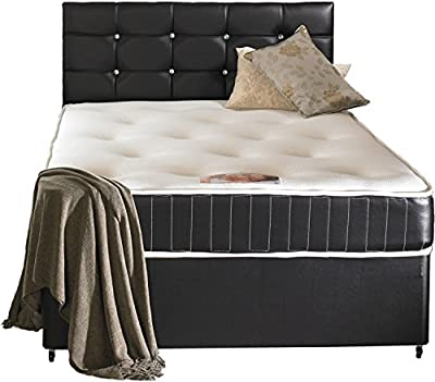 Faux Leather Divan Bed Including Luxurious Memory Foam Mattress And Dimonte Headboard - cheap UK light shop.