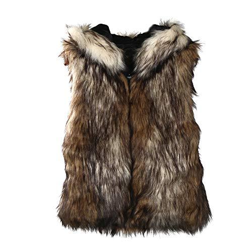 POLP Abrigos mujer Chalecos Mujer Invierno Pelo Abrigos Invierno Elegantes Chaquetas Pelo Chalecos Mujer Invierno Chaleco de Mujer para Cuello sin Mangas Abrigo de Pelo Mujer