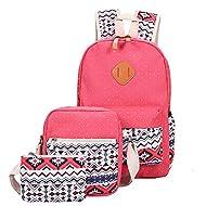 QincLing Adolescent Filles Poids léger Sac à dos scolaire Toile Sac à dos pour ordinateur portable Bookbag