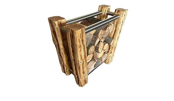 Kaminholzregal Rustikaler Kaminholzst/änder aus Massivholz mit Edelstahl Wood /& Wishes Brennholzst/änder Feuerholzregal; Handarbeit; Treibholzoptik; Landhausstil; dekoratives Unikat