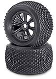 Carson 500900077 - 1:8 Reifen/Felgen-Set Truggy, Modellbauzubehör, 2 Stück, schwarz