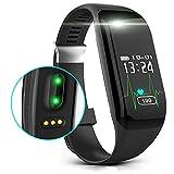 new-silk Road E3Fitness Tracker mit Herzfrequenz Monitor, Aktivität Armbanduhr Schritt Walking Sleep Zähler Wireless Wristband Schrittzähler Übung Tracking Schweiß-Sports Armband für Android und IOS, schwarz
