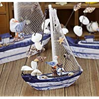 AFMGD Mediterranean Style Sail Boat Wooden Sailing Vintage Ship Marine Craft Ornament Nautical Home Room Household Decoration Boy Gift S As shown