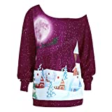 Reaso Femmes Tunique Shirt Noël Vêtements Impression Pullover épaule Casual Sweat-shirt Manches Longues Mode Haut Fête Noël Party Grande taille Blouse Chemise (4XL, Violet)