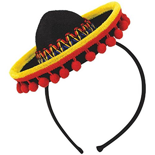 Fiesta Party Black Spanish Hat with Red Ball Fringe Headband, 7 x 6.25 by Amscan ()