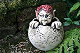 Keramik Gartenfigur Troll in der Kugel