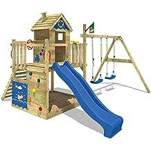 WICKEY Torre de juegos Smart Lodge Torre de escalada jardín de la casa del árbol con la casa de juegos, columpio doble, arenero grande, muro de escalada, tobogán azul