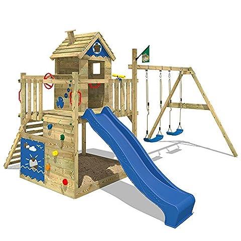 WICKEY Spielturm Smart Lodge Kletterturm Baumhaus Garten mit Spielhaus, Doppelschaukel, großem Sandkasten, Kletterwand, blaue