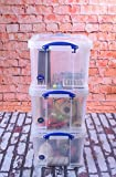 Really Useful 3 x 35 Litre Storage Box, Clear, Bonus Pack