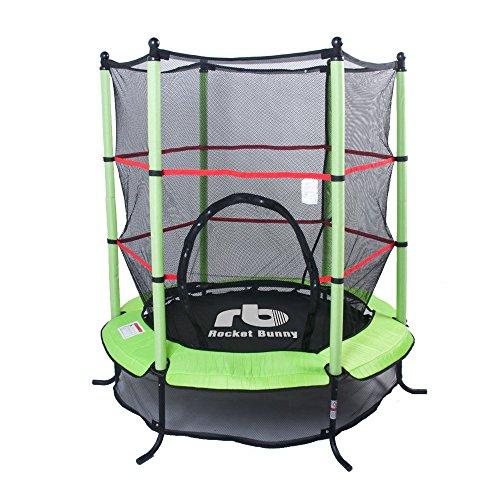 Grand 1,37 Meters Challenger, colore: blu/rosa/verde-Tappeto elastico per bambini con rete di sicurezza attività divertente
