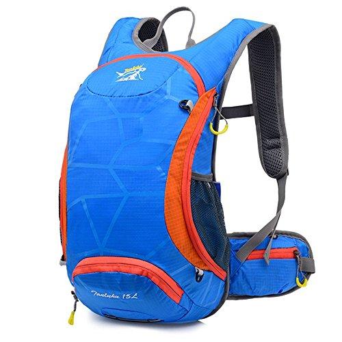 ruifu 15L Unisex Wasserdicht Fahrrad Radfahren Rucksack für Wandern Camping Reise Rucksack Daypack Tasche Blau - blau