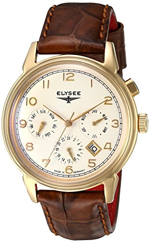 Elysee Vintage Calendar Mens Watch Gold with Brown Leather Strap