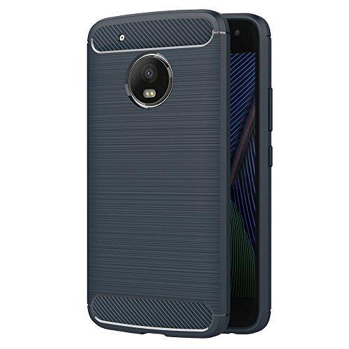 Funda Moto G5, AICEK Azul Silicona Fundas para Lenovo Motorola Moto G5 Carcasa Moto G5 Fibra de Carbono Funda Case (5,0 Pulgadas)