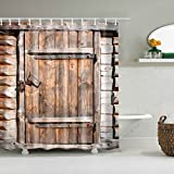 GUBENM Duschvorhang, Rustikal Scheune Schuppen Bauernhof Türen Dekorstoff Duschvorhang alten Holz Brett mit Haken