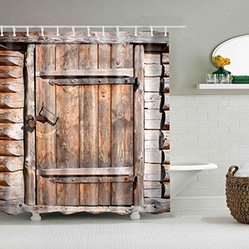 GUBENM Duschvorhang, Rustikal Scheune Schuppen Bauernhof Türen Dekorstoff Duschvorhang alten Holz Brett mit Haken Dusche Vorhang-stab-hardware