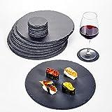MALACASA - Serie Nature Ardesia 32 pezzi. Set di piatti in ardesia rotondi da portata per formaggi sottobicchiere piatto per antipasti e da buffet diametro 10/30 cm