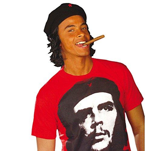 Che Kostüm Guevara - NET TOYS Che Guevara Mütze mit Haaren Cap Hut Freiheitskämpfer roter Stern Kopfbedeckung Kuba Faschingsmütze Karnevalsmütze