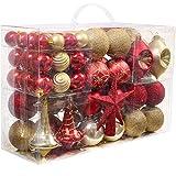 Valery Madelyn 100 pezzi set di decorazioni per alberi di Natale in plastica per la decorazione dell'albero di Natale con palline di Natale rosso oro, cima di un albero di Natale e appendiabiti coordinato Decorazioni natalizie
