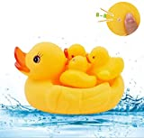 Windiges Wasserschwimmbad-Tiergeschenk,Farbe C 4pcs Kinderspielzeug schwimmende Ente Soft Rubber Bath machen Sound für Baby Kids, gelb