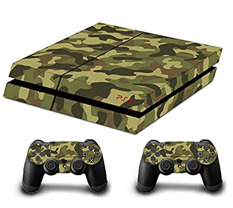 DOTBUY PS4 Vinyl Decal Autocollant Skin Sticker pour Playstation 4 console + 2 Dualshock Manette Set (Soldier Green)