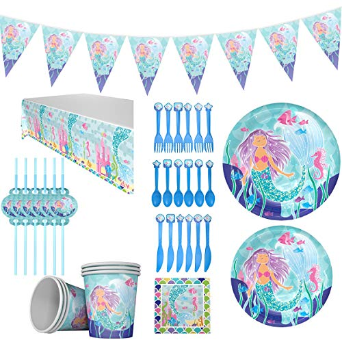 irl Party Supplies Set gehören Geschirr Teller Strohhalme Tassen Messer Gabel Löffel Party Dekoration Set für 16 Gäste ()
