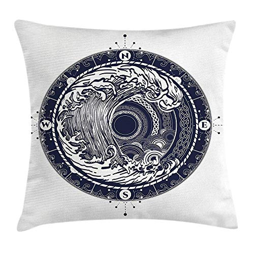 Compass Throw Pillow Cushion Cover, Sea Navigation with a Drawing of Tempest Inside Big Wave Adventure Journey, Decorative Square Accent Pillow Case, 18 X 18 inches, Night Blue White (Adventure Big Halloween-party)