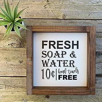 """Vintage Farmhouse Schild 20×20 cm""""Fresh soap & water"""" Landhaus Deko Bild fixerupper für Bad, WC & Toilette"""