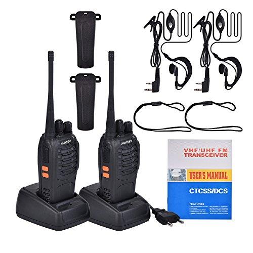 funkgeraete mit headset Miavogo 2 x Walkie Talkie Set PMR 446 UHF 16 Kanäle wiederaufladbare Funkgeräte, bis zu 3 Km - mit Headset