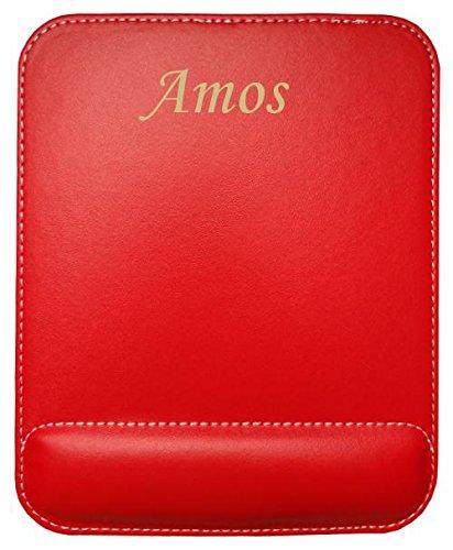 Preisvergleich Produktbild Kundenspezifischer gravierter Mauspad aus Kunstleder mit Namen Amos (Vorname / Zuname / Spitzname)