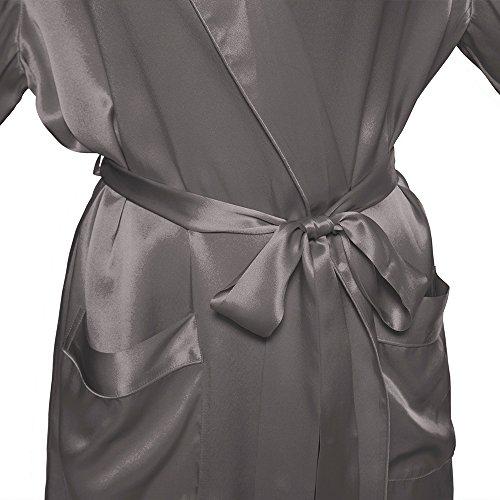 LILYSILK Robe de Chambre 100% Soie Femme Style Kimono au Genou 22 Momme Gris Foncé