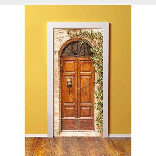 WHXJ 3D Antike Doppeltüren In London England Türaufkleber Für Schlafzimmer Wohnzimmer Geschenk Kunst PVC Wasserdicht Aufkleber Türverpackung 77X200 cm (Halloween In England Für Kinder)