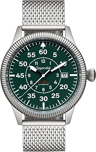 Gigandet Red Baron I Automatic Men's Aviator Watch Analogue Wrist Watch Silver Green G8-010