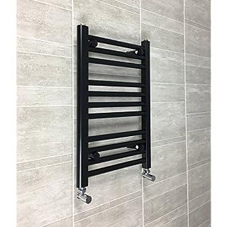 400mm Wide Black Heated Towel Rail Radiator Flat Ladder for Stylish Bathroom (400 x 600mm)