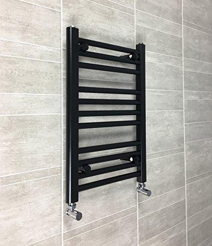400mm larghezza nero Scaldasalviette radiatore piatto scaletta per elegante bagno, Acciaio, 400 x 600mm