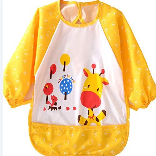 LY/WEY Cartoon Cute Animals Print Bibs Apron Infant Baby Children Waterproof Long Sleeve Self Feeding Bibs Apron Baby for Kids,E (Print Sleeve Bib Long)