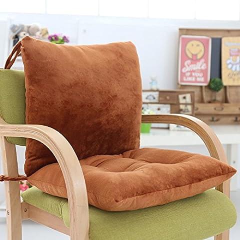 Indoor/Outdoor-Cuscino per schienale poltrona, da casa, ufficio e Carden-Cuscino per sedia con lacci fissati Coffee solid